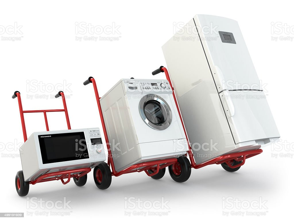 Appliance delivery. Hand truck, fridge, washing machine and micr stock photo