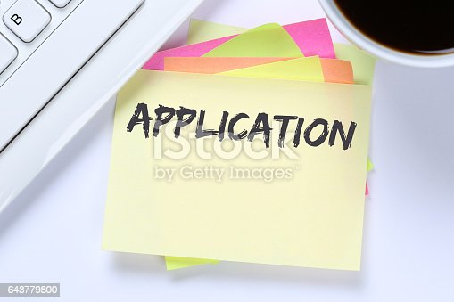 587228412istockphoto Application apply jobs, job working recruitment employees business desk 643779800