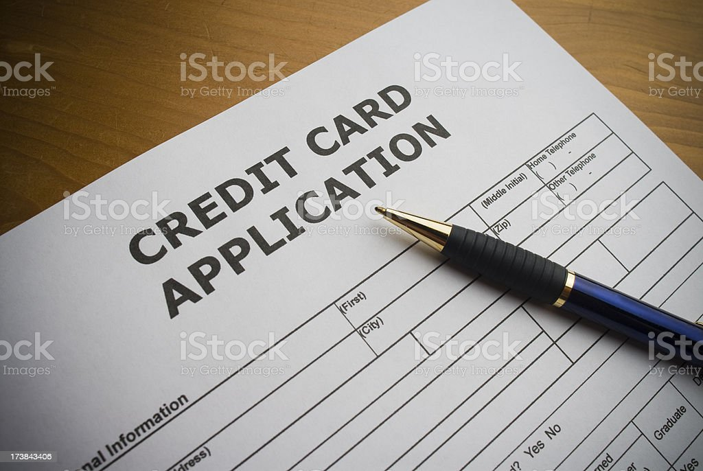 Application for a credit card royalty-free stock photo