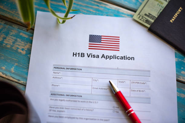 Application for H1B visa in United State for job Illustrative picture showing application for United States of America work visa H1B with pen passport stamp stock pictures, royalty-free photos & images