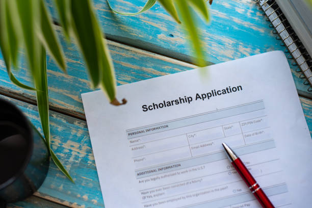 Application for scholarship for higher studies stock photo