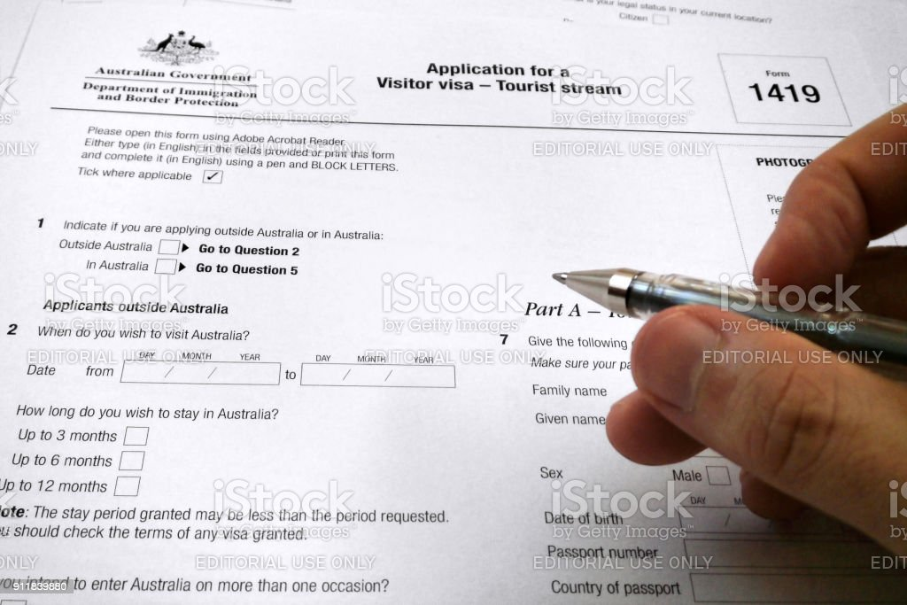 Application form for a visitor visa to Australia stock photo