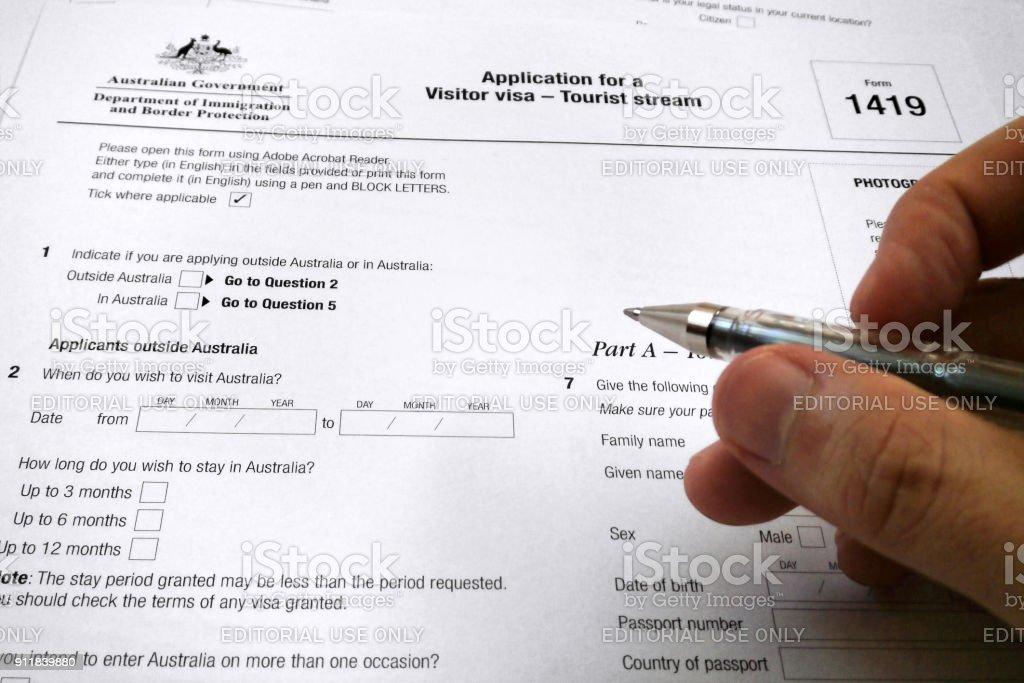 Formulaire de demande pour un visa de visiteur en Australie - Photo