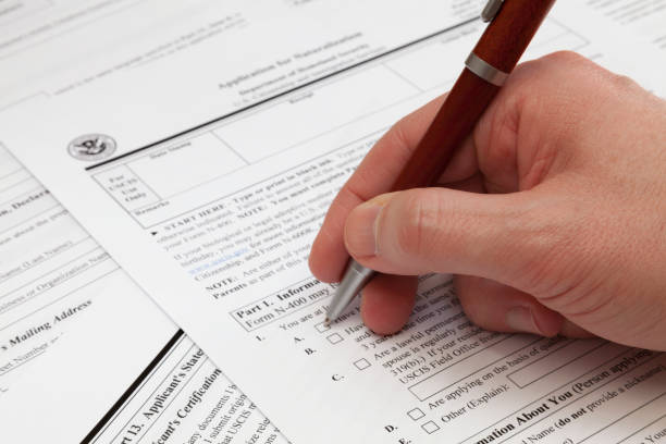 Application form to obtain a U.S. naturalization stock photo