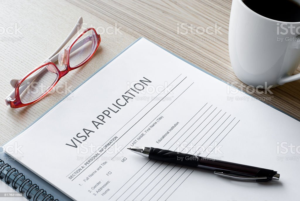 application form visa stock photo