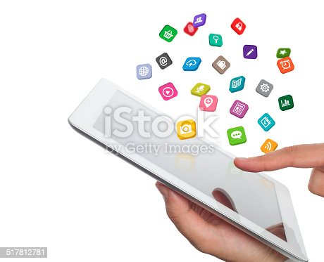 istock application icons fly off the tablet computer in hand 517812781