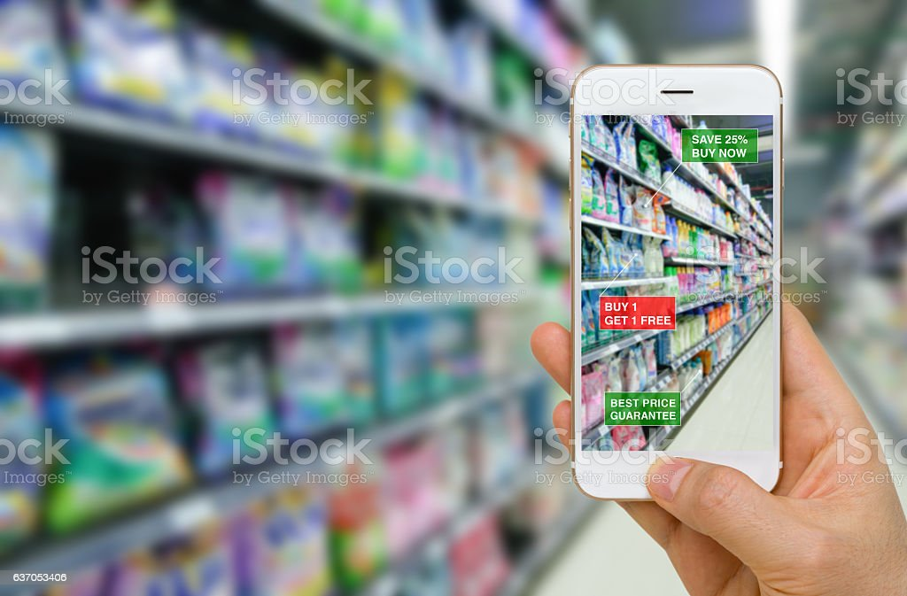 Application of Augmented Reality in Retail Business Concept stock photo