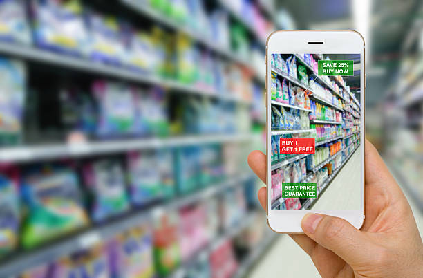 Application of Augmented Reality in Retail Business Concept - foto de stock