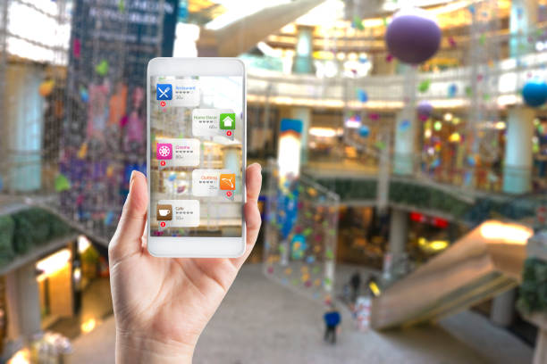 Application of Augmented Reality in Shopping mall Application of Augmented Reality in Shopping mall augmented reality stock pictures, royalty-free photos & images