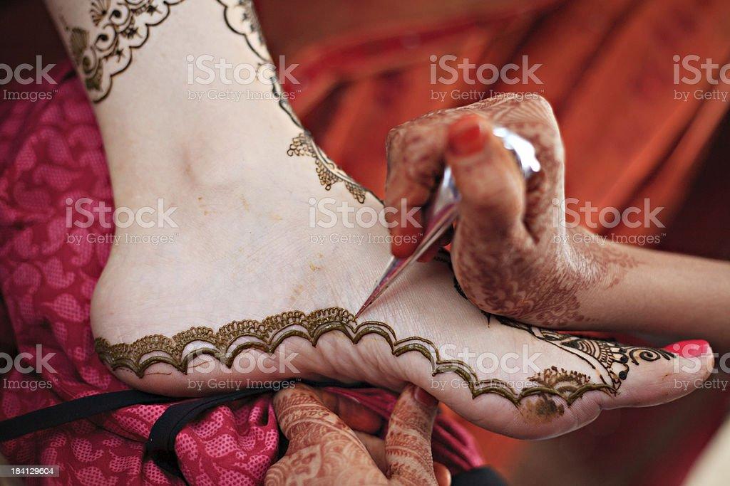 Stosowanie Tatuaż Indian Brides Na Stopę Zdjęcia Stockowe