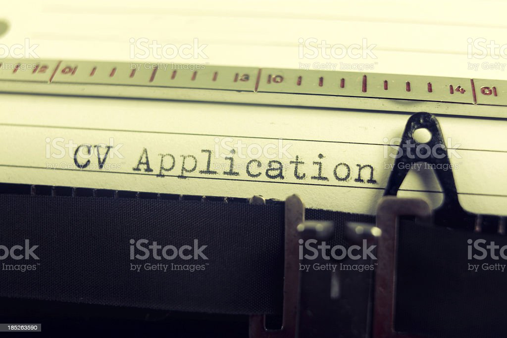CV application on typewriter royalty-free stock photo
