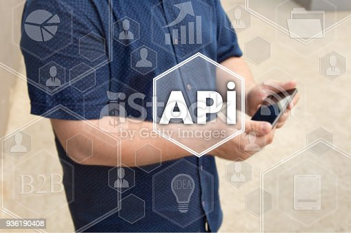 istock Application Programming Interface. API on the touch screen with a blur background of the businessman with the phone. The concept of application programming interface, API 936190408