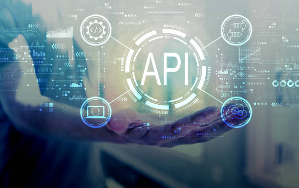 API - application programming interface concept API concept with young man