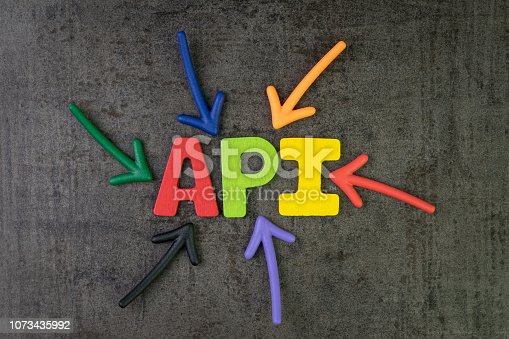 istock API, Application Programming Interface concept, multi color arrows pointing to the word API at the center of black cement chalkboard wall, the bridge to connect and sending data between  application 1073435992