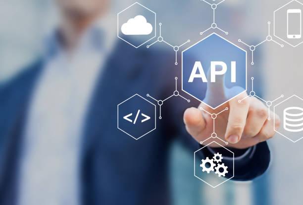 API Application Programming Interface verbinden Dienste im Internet und ermöglichen Netzwerkdatenkommunikation, Software-Ingenieur-Touch-Konzept für IoT, Cloud Computing, Roboter-Prozessautomatisierung – Foto
