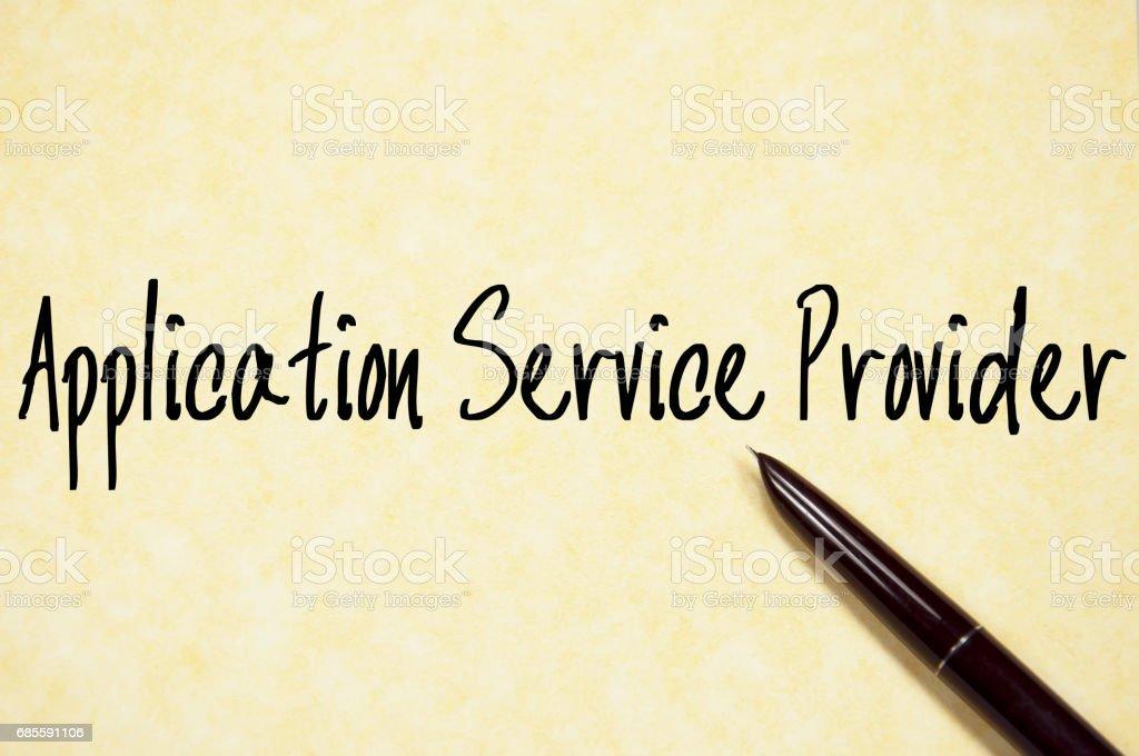 應用程式服務提供程式文本寫在紙上 免版稅 stock photo
