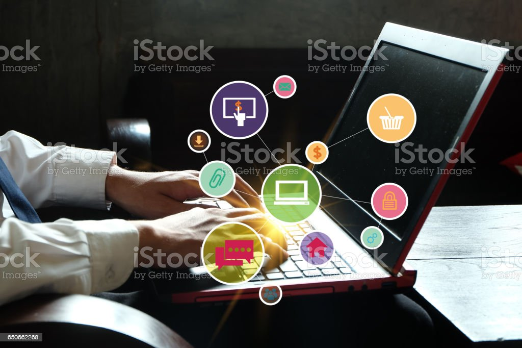 application software icons on laptop stock photo