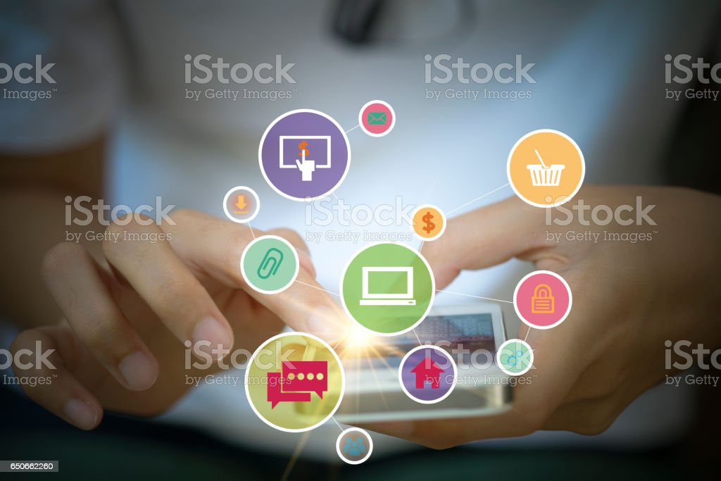 application software icons on mobile stock photo