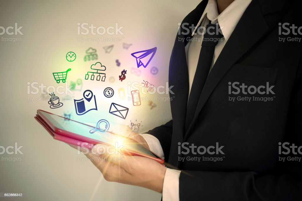 application software icons on tablet stock photo