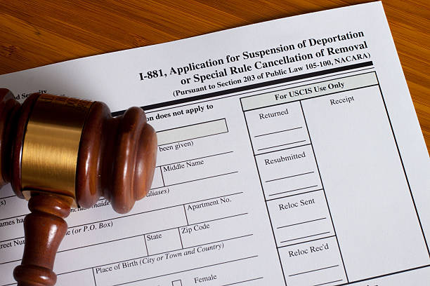 Application Suspension of Deportation Application Suspension of Deportation or special rule cancellation of removal deportation stock pictures, royalty-free photos & images