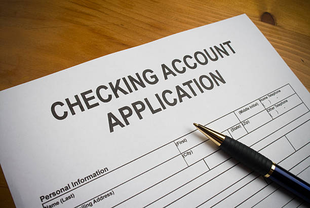 Application to open a checking account. stock photo