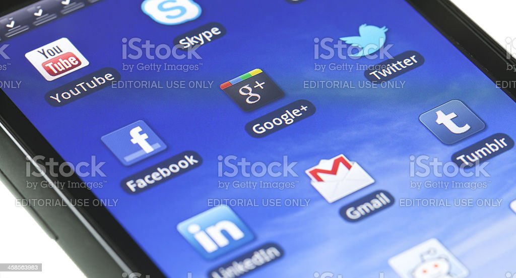 Applications on mobile device stock photo