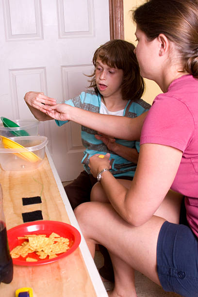 Applied Behavioral Analysis Therapy Session stock photo