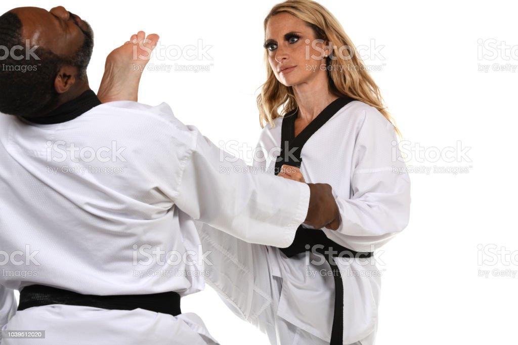 Applied Self-Defense Kick stock photo