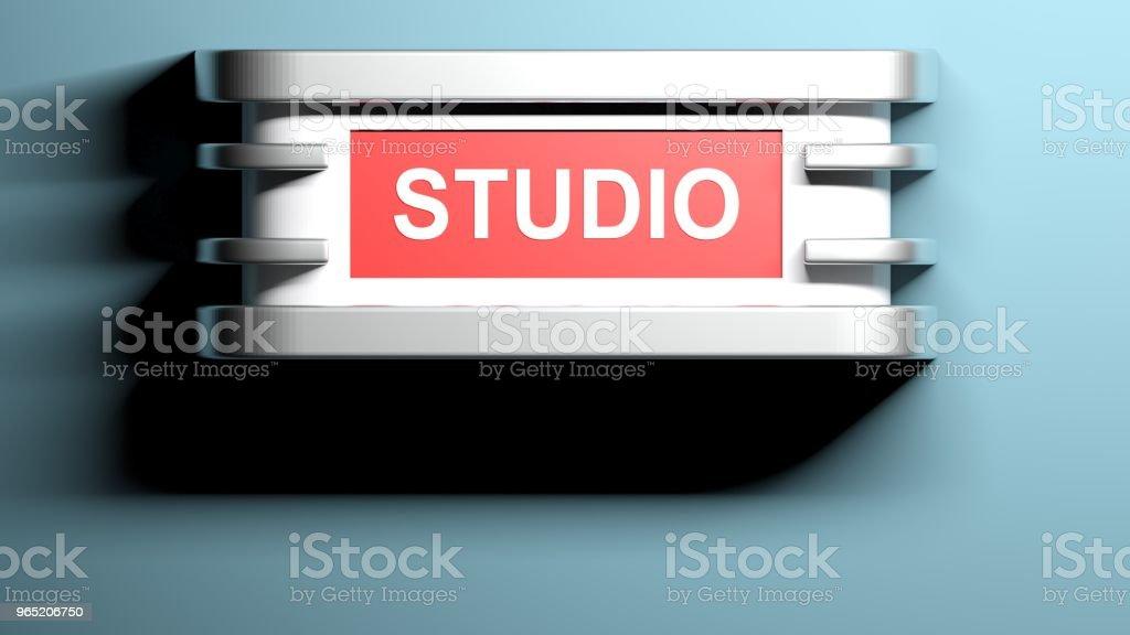 STUDIO applique lamp at blue wall - 3D rendering zbiór zdjęć royalty-free