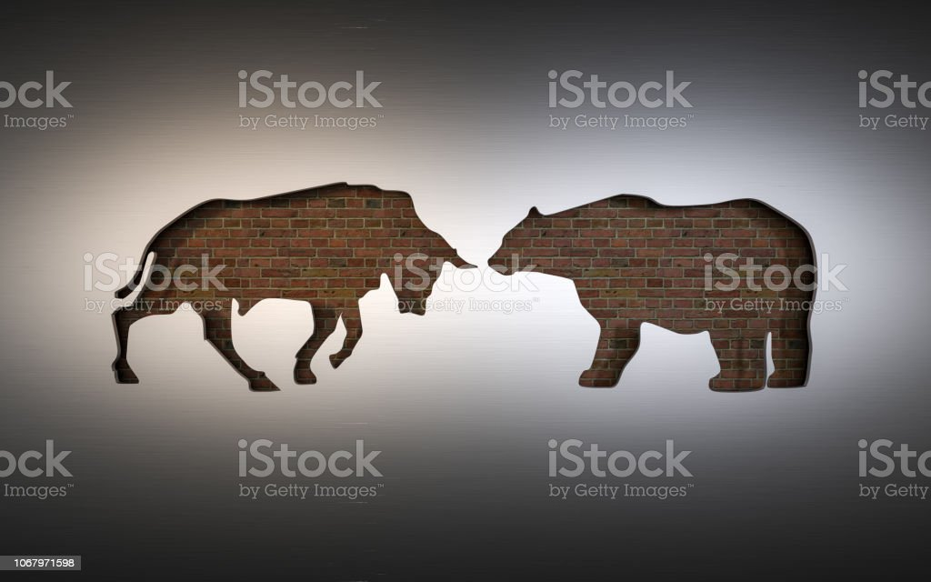 applique of the symbols of a bull and bear used in the stock market. 3D rendering stock photo