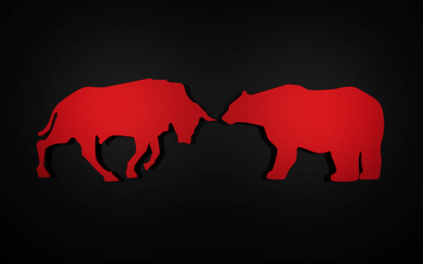 applique of the symbols of a bull and bear used in the stock market. 3D rendering the figures of a bull and bear which are cut out from various materials. 3D rendering bull market stock pictures, royalty-free photos & images