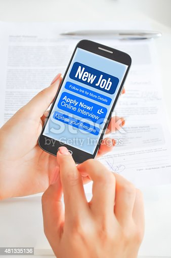 istock Apply for a job via smartphone or mobile device 481335136