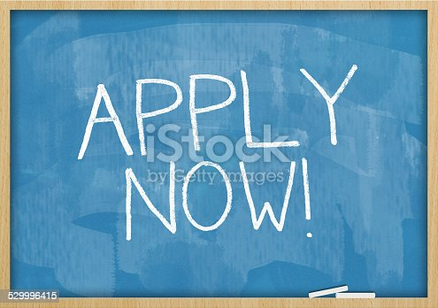 istock Apply now / Blue  Blackboard (Click for more) 529996415