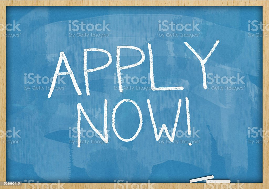 Apply now / Blue  Blackboard (Click for more) stock photo