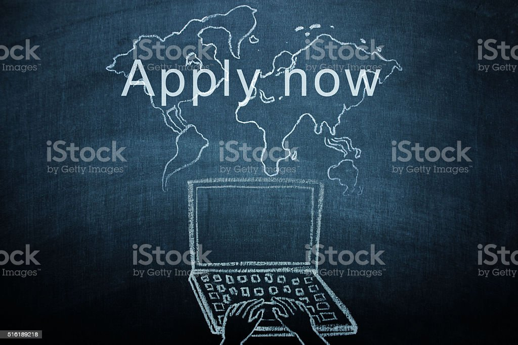 Apply now concept on chalkboard stock photo