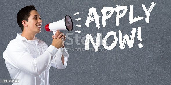 istock Apply now jobs, job working recruitment employees business concept 636681940