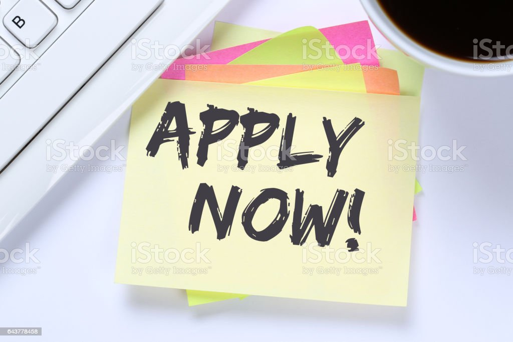 Apply now jobs, job working recruitment employees business desk stock photo