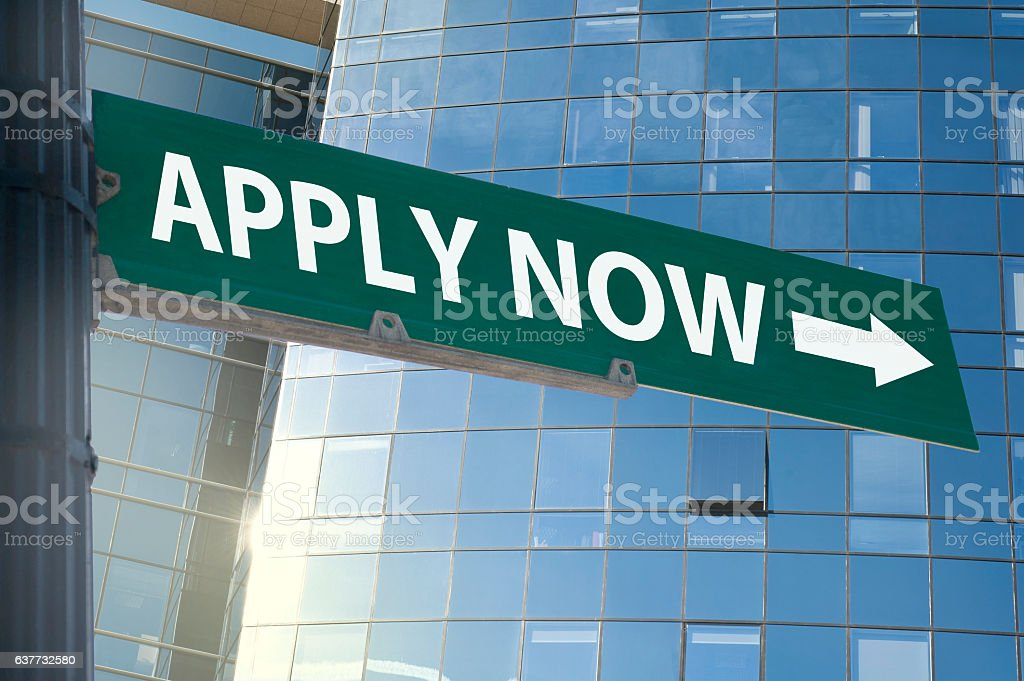 Apply now / Traffic sign (Click for more) stock photo
