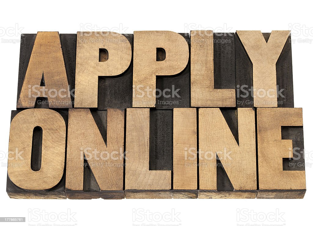 apply online in wood type stock photo