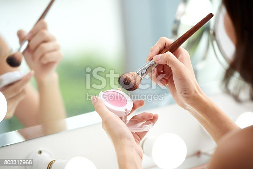 istock Applying blush 803317966