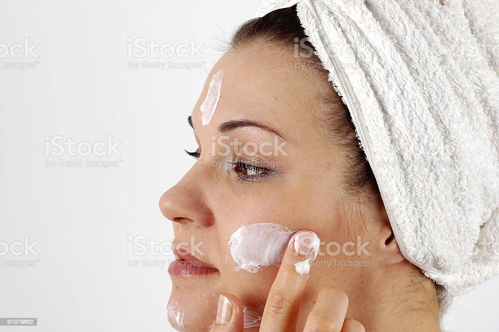 applying cream #4 royalty-free stock photo