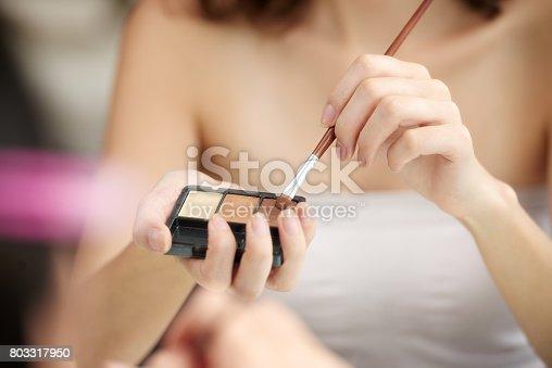 istock Applying eyeshadows 803317950