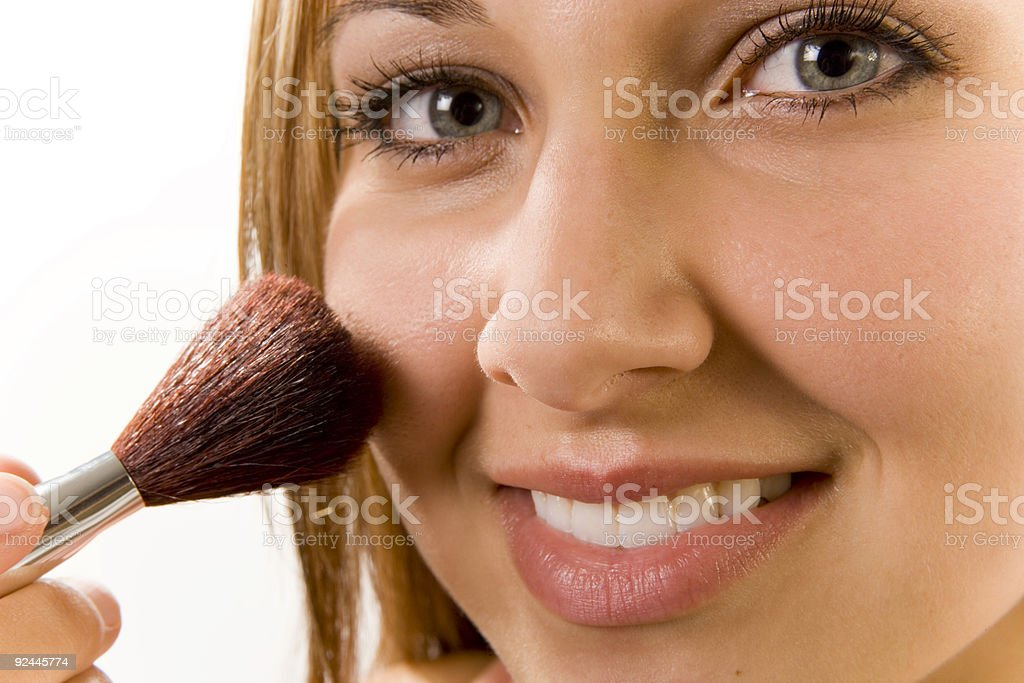 Applying Makeup (Blush) Closeup royalty-free stock photo