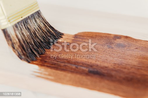 istock Applying protective varnish on a wooden surface dyi 1026181358