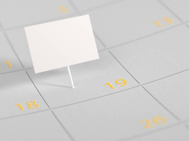 appointment marked on calendar date mock-up - number 19 stock photos and pictures