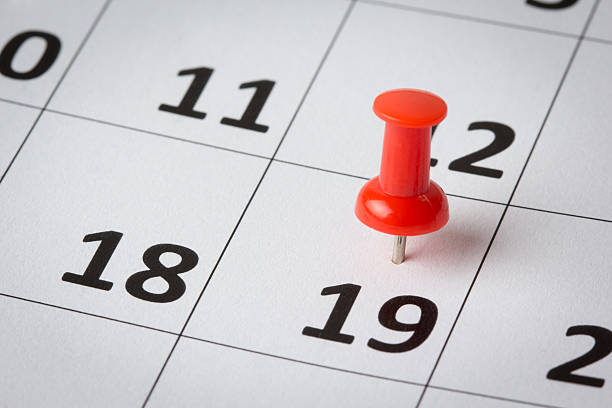 appointments marked on calendar - number 19 stock photos and pictures