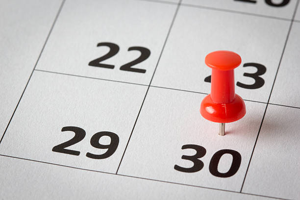appointments marked on calendar - number 30 stock photos and pictures