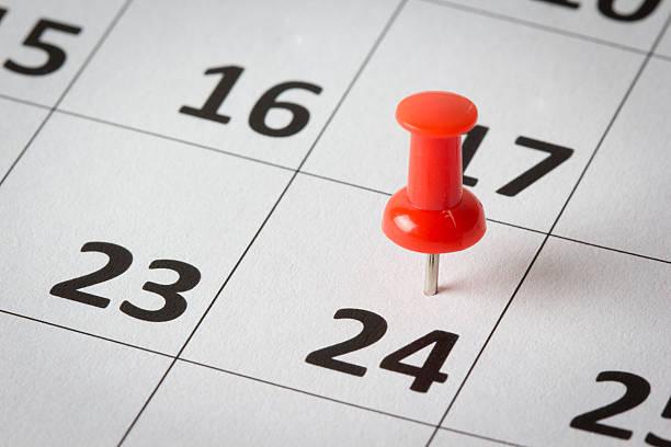 rendez-vous sur calendrier indiquant - nombre 24 photos et images de collection