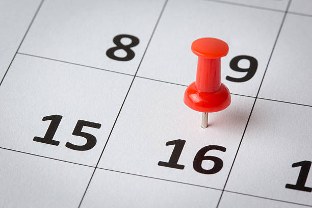appointments marked on calendar - number 16 stock photos and pictures