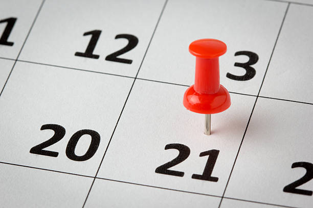 appointments marked on calendar - number 21 stock photos and pictures